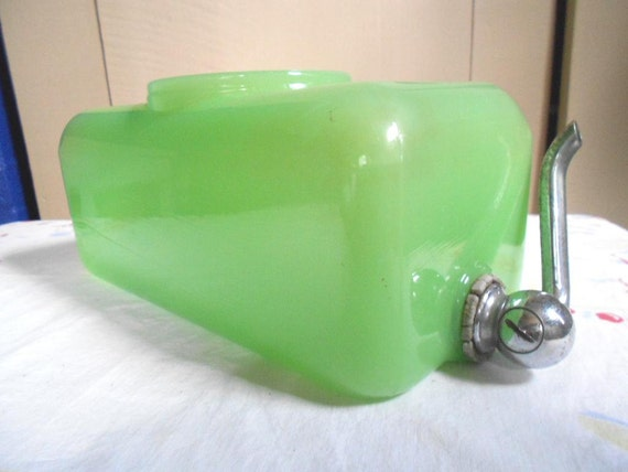 Depression Clambroth Green Jadite Jadeite Fridge Ice-Box Water Server Jar Sneath Glass FREE SHIPPING