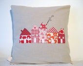 "Cushion cover, red houses in a row, European, free motion applique, 16"" / 40cm. Made in Belgium."