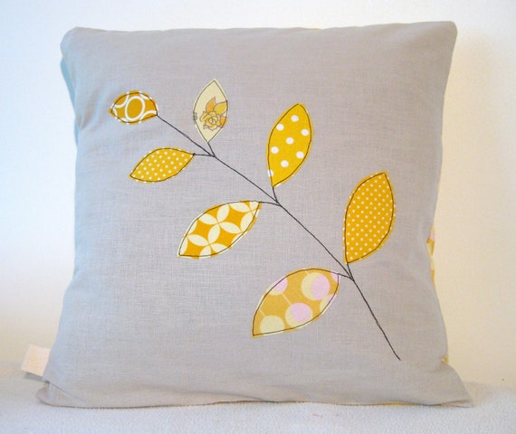 """Cushion cover, yellow spring leaves on a branch, free motion applique, linen, cotton, 16"""" / 40cm."""