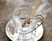 Espresso Cup and Silver plated Saucer - CAFE' - hand-stamped