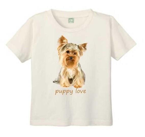 Yorkshire Terrier T-Shirt, Puppy T Shirt, Natural Organic Cotton T Shirt, Yorkie Shirt, Puppy Love T-shirt for Children, Yorkiepoo