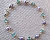Lavender pearls with aqua apatite and bright silver bracelet                      On Hold for Cheryl