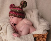 Fall Harvest Berry Happy baby hat knitted in size Preemie to Newborn  Fall colors fall baby hat green, deep red, pink, red