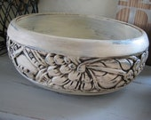 Beach Cottage,Shabby Chic Antique White Carved Wood Bowl