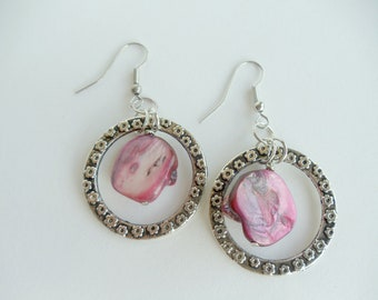 Pink Shell Chandelier Earrings On Leaf Embossed Metal Circles