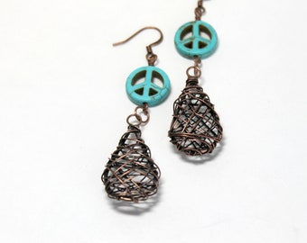 Peace Sign Earrings, Turquoise and Copper Wire Earrings Peace Signs and Wire Wrapped Copper