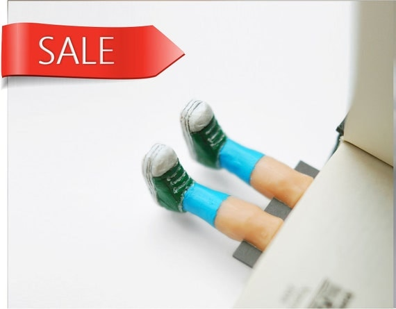 SALE. Legs in the book. Green sneakers and blue socks . Unusual art bookmark. Funny children gift. Fun for kids. SALE
