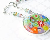 Rainbow pendant necklace, millifiore statement necklace, rainbow jewelry, sterling silver necklace jetteam