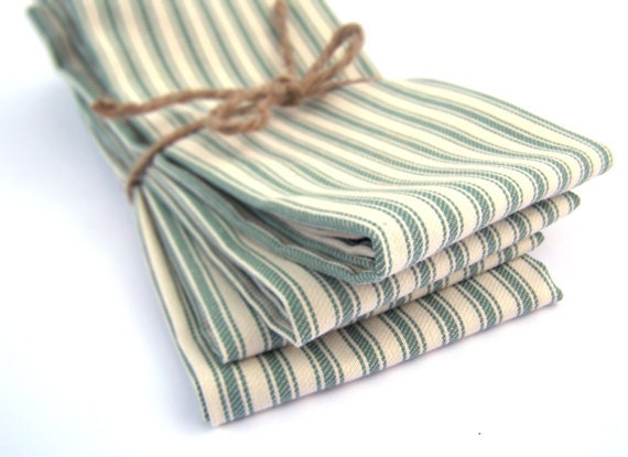 SALE- Green French Ticking Cloth Napkins - Set of 4 - Fabric Napkins