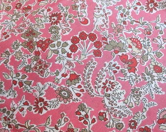 LIBERTY Of LONDON Tana Lawn Cotton Fabric  'Dixter' Pink Floral Fat Eighth 9 X 26 in