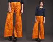 Incredible Vintage ORANGE 70s Wide leg Pants // Trousers // India Print // High Waist // Paisley palazzo
