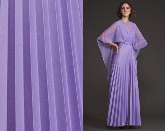 Vintage Cape butterfly 70s Dress//pleated Maxi//BatWing//sheer// Kimono // purple//flutter sleeves//