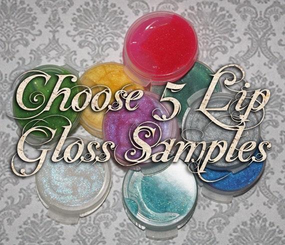 Lip Gloss Samples: Choose Five (5) Sample Lip Glosses, Glitter Lip Glaze, Iridescent Lip Color, VEGAN Cosmetics, Ships Out in 5-8 Days