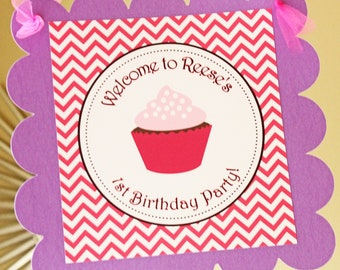 Cupcake theme Door Sign - Pinks and Purples