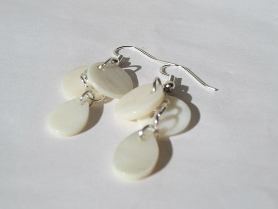 White Disc Shell & Teardrop Earrings