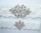 Wedding Garter True Light Bridal Ivory Garter Bridal Garter Set Rhinestone Diamante Rhinestone Fan Toss Garter