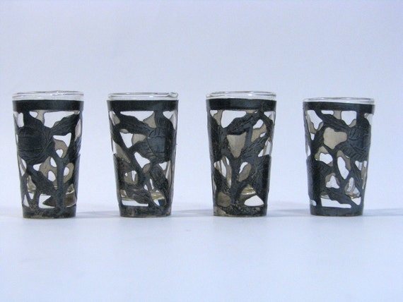Set of 4 Sterling Silver Shot Glasses Vintage 1940s Mexican Taxco Silver Tequila Shots