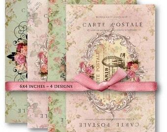 Digital Collage Sheet Download - Paris Carte Postale -  484  - Digital Paper - Instant Download Printables