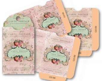 Digital Collage Sheet Download - Pink Floral Envelopes -  525  - Digital Paper - Instant Download Printables