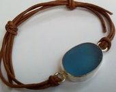 Sea Glass Bracelet. Sterling Silver. Beautiful Blue, Beach Jewelry Natural Leather Cord. Beach Wear. Adjustable.