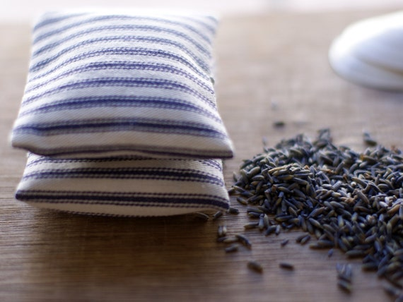 Lavender Sachet Blue Ticking Nautical with Inserts