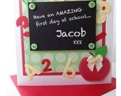 Super cute hand made card for a little ones first day at school. - justsimplylovely