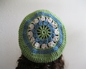 Crocheted Slouchy Beanie Hat Leaf Green and Blue Back to School Fall Fashion - Ready to Ship