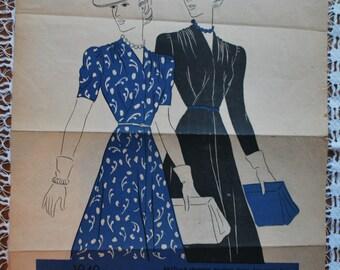 Original VOGUE advert - fashion plate - 1940s Shop Advertising Vogue patterns