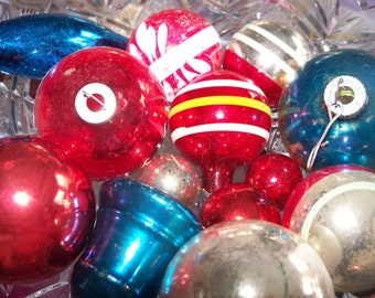 Christmas Ornaments Red White and Blue Bakers Dozen Vintage Antique Mid Century Ornament