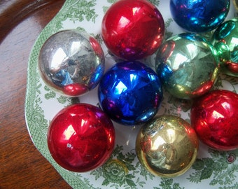 Christmas Ornaments Hand Blown Mercury Glass Twelve Vintage Ornaments Made in Japan