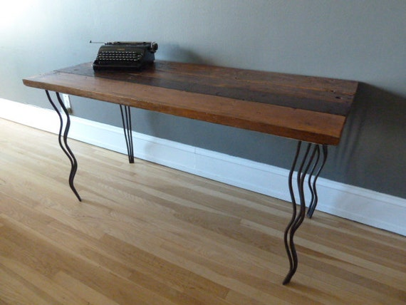 RESERVED Reclaimed Wood Desk with Curvy Hairpin Legs