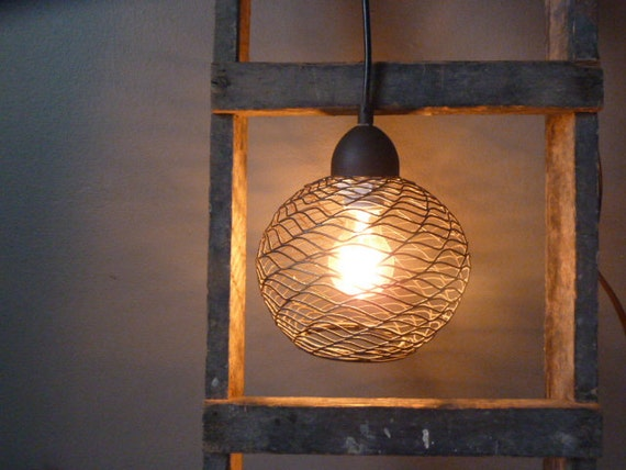 Repurposed Round Wire Cage Hanging Pendant Light By