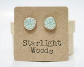 Blue flower stud earrings , wood earrings, minimalisti jewelry,  eco friendly earrings, Blue Post Earrings. Starlight Woods