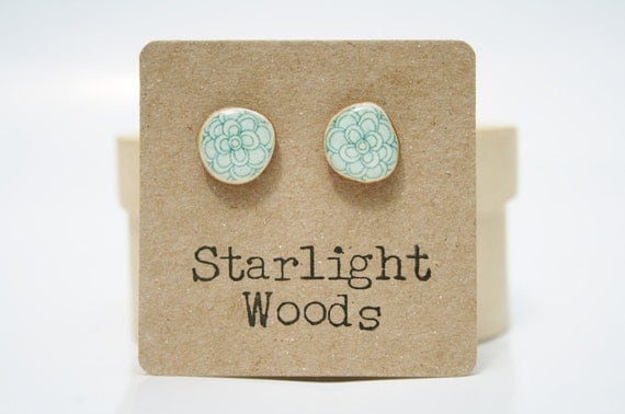 Blue flower stud earrings , recycled tree branch wood earrings, minimalisti jewelry eco friendly earrings Blue Post Earrings Starlight Woods