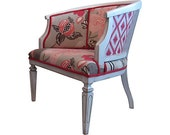 Vintage Modern Chic Cane Barrel Side Chair Ikat Floral Grey White Distressed Country