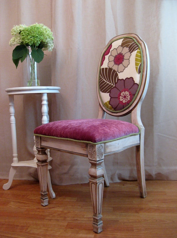 Rustic Grace Purple Green Vintage French Side Chair