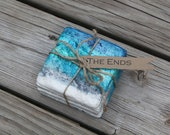 Blue ombre tumbled stone coasters hostess gift rustic favor house warming thank you gift