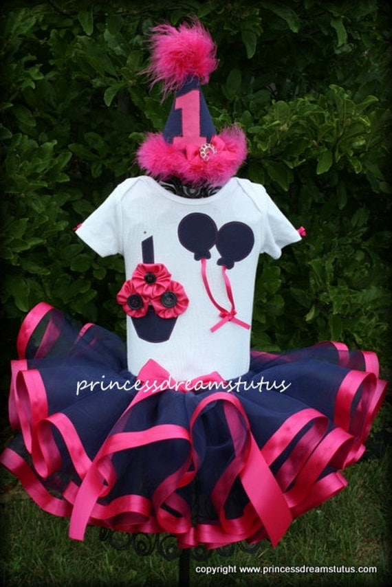 Custom Satin Ribbon Tutu Birthday Cupcake Outfit with Shirt and Party Hat