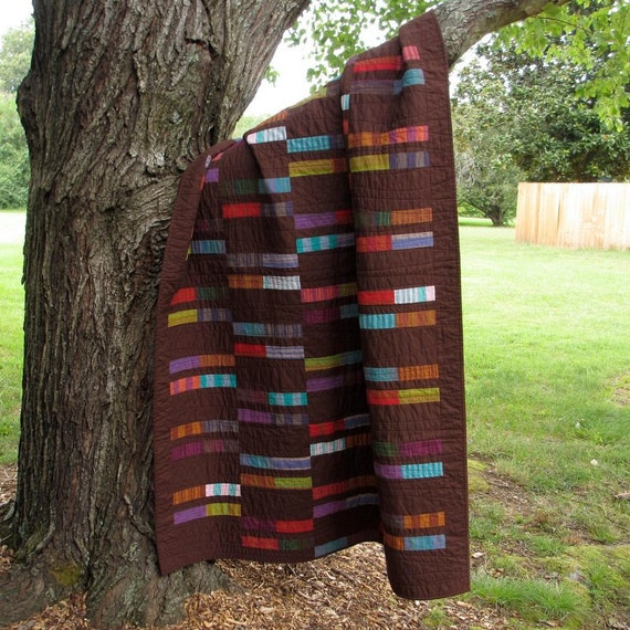 Handmade Brown Lap Quilt, Modern Quilt, Cotton, Woven Stripes