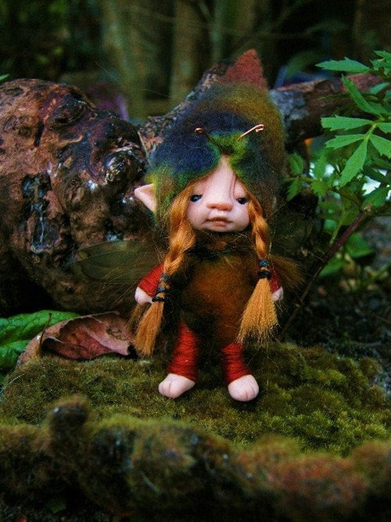 sweet  3inches  redhaired  tiny fairy fairie bug posable ooak
