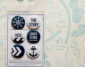 "Badges / Flair Buttons ""Ahoy"" - Project Life - Marine - Anchor - Nautical"