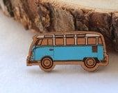 Wood laser cut brooch Cosy vintage Kombi hand painted blue