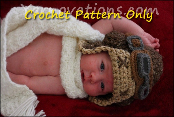 Aviator Hat Set - Bomber Hat, Flying Goggles and Scarf Crochet Patterns for the Whole Family