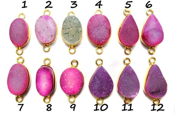 24 kt. Gold Plated Druzy Connectors , multi colour fine quality druzy gem stone connectors , agate druzy connectors with gold vermeil