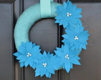 Blue Christmas Wreath, Handmade Christmas Yarn Wreath in Blue with Blue Poinsettias, Handmade Holiday Wreath, Christmas Decor, Holiday Decor