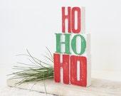 Letterpress Letters HO HO HO, Christmas Decor, Rustic Style
