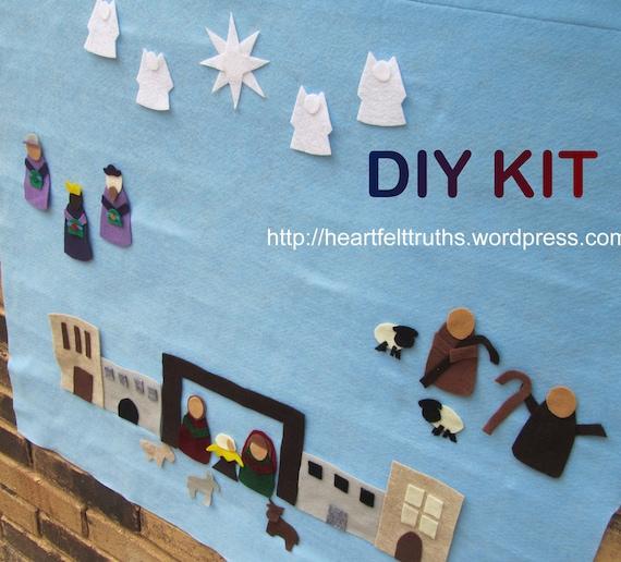 Diy Advent Calendar Nativity : Diy kit for felt nativity set advent calendar count down to