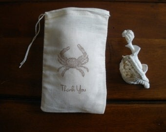 """Wedding Favor Bags - 25 Muslin 4x6"""" Hand Stamped Crab Thank You"""