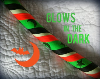 Spooky Series: Harvest Moon Glow in the Dark Dance & Exercise Hula Hoop COLLAPSIBLE black orange green stars and moons - Halloween