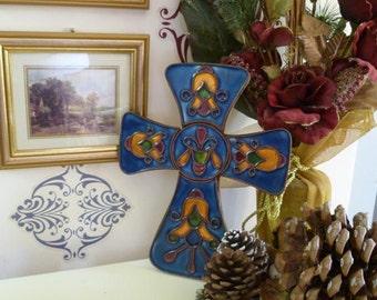 Enamel Boudoir Cross Mid Century Art Nouveau Revival Artisanal Signed Piece Blue
